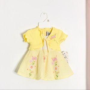 Youngland Yellow Flower Butterfly Seersucker Dress
